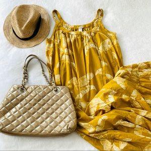 H&M yellow floral loose fit maxi dress sz 6 (Б4)
